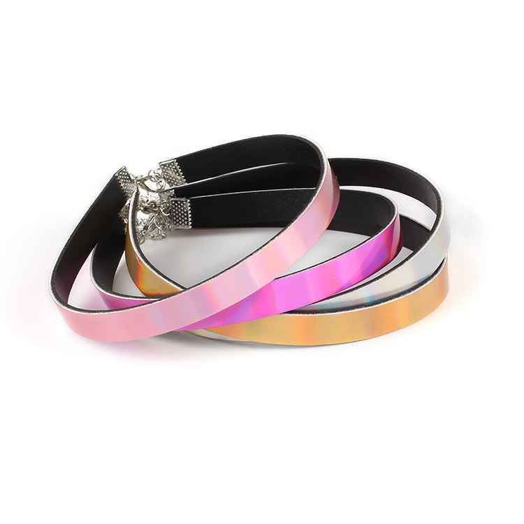 Hard-Working 1cm Width Thin Holographic Chokers Necklaces For Women Rainbow Iridescent Holo Hologram Choker Chocker Pu Leather Necklace 034 Great Varieties