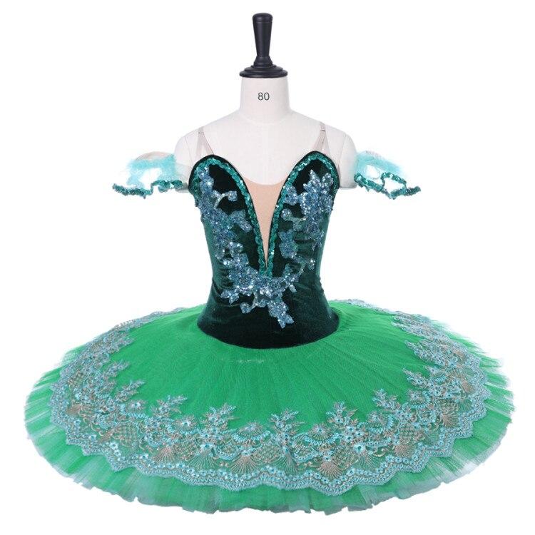Velvet Esmeralda Professional Ballet Tutu Girls Adult Green Pancake Peformance Tutus Sugar plum fairy Ballet Dress Costumes Kid