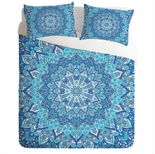 CAMMITEVER Juego de cama con diseño de loto, ropa de cama de estilo bohemio, con funda nórdica de tamaño King y Queen, 3 uds.