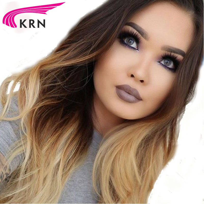 Body Wave Ombre Color Wig Lace Front Human Hair Wig with Dark Brown Roots 100% Brazilian Remy Hair Wig Pre-plucked Hairline KRN