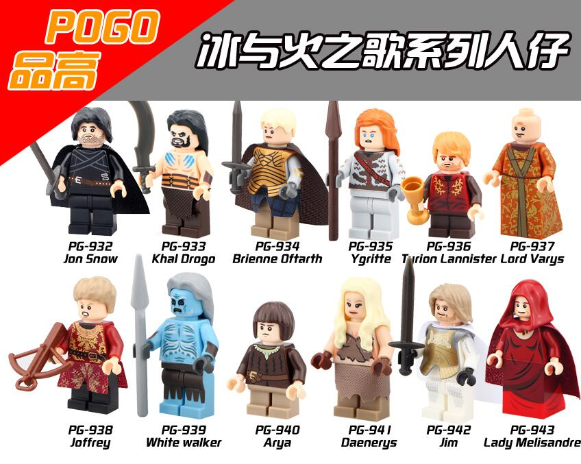 Game of Thrones Jon Snow Khai Drago White Walker Daenerys Lard Vary Ygritte Tyrion Lannister Building Blocks Kids Toys PG8029 game of thrones jon snow wigs black curly synthetic hair