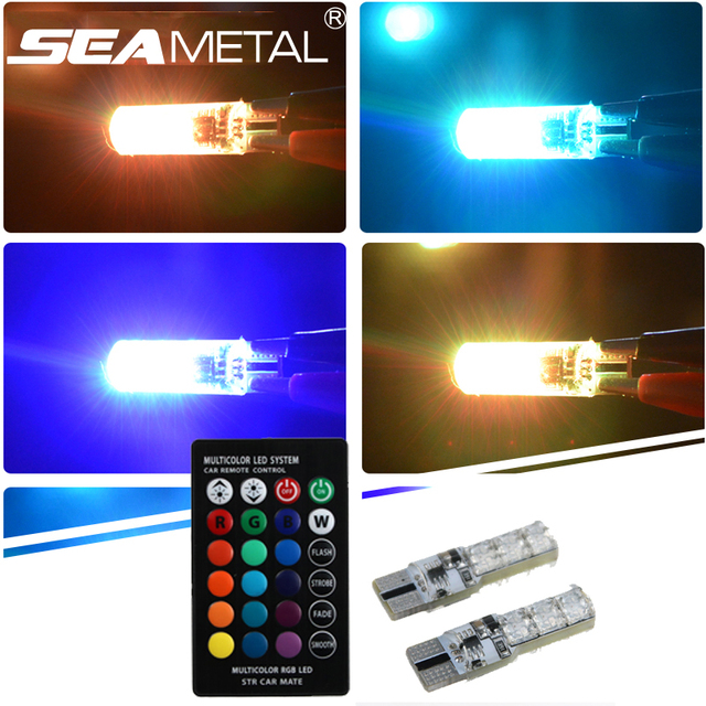 Car Rgb T10 Headlight Bulbs Side Changing Led Lights Wedge Lamps Remote Control Auto Head Light Interior