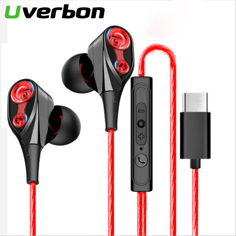 HiFi USB-C Earbuds In-ear Dynamic Drive Type C Earphone Bass Metal Sport Gaming Headset With Mic For Samsung Xiaomi Huawei Letv