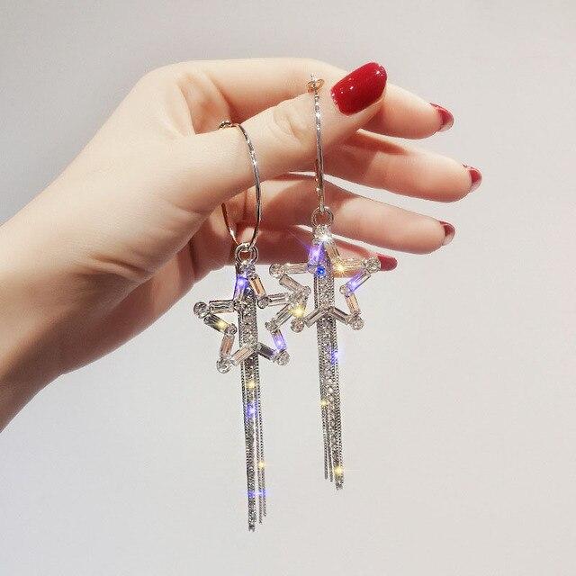 Charm Shiny Rhinestone Star Earrings Silver Color Hoop Earrings for Women Long Tassel Earrings Fashion Jewelry Statement Brincos