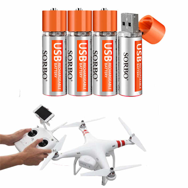 4PCS SORBO 1.5V 1200mAh USB Rechargeable 1 Hour Quick Charging AA Li-po Battery for RC Models Toys Cars Drones Helicopters Power