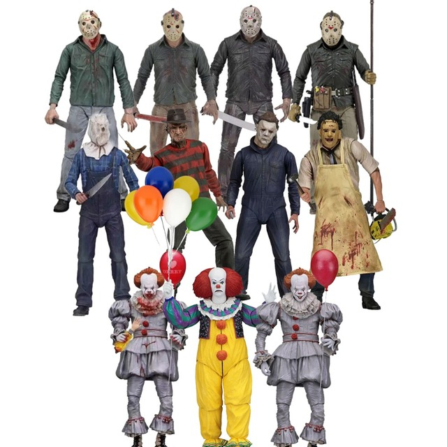NECA Friday The 13th Jason 3D Chainsaw Leatherface Laurie Strode Michael Myers Pennywise Freddy Krueger Brinquedo Figuras de Ação Coringa