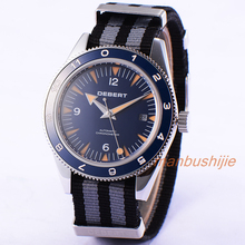 41 MM Debert Dial Luminoso Marks Reloj de Pulsera Azul de Nylon Correa Fecha Mens Automático Reloj Relogio masculino