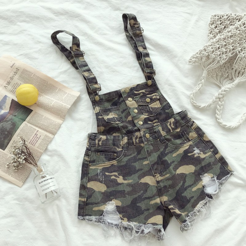 2018 Summer Women Shorts Camouflage Denim Overalls Women Tassels Casual Shorts Ripped High Waist Mini Short