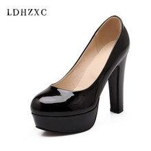 LDHZXC 2018 Women Pumps new Two Piece Fashion Women Shoes black Platfform square High Heel Simple Ladies Pumps big size 13