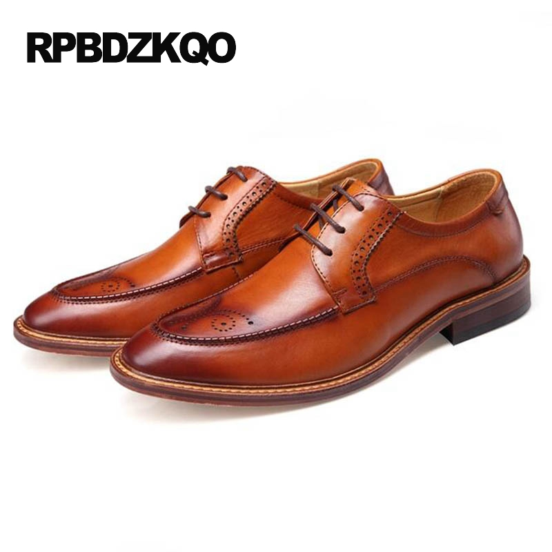 Designer Shoes China Stylish Brogue Heel Formal High Quality Dress Brown Office Italian Flats Genuine Leather Men Por Autumn In From
