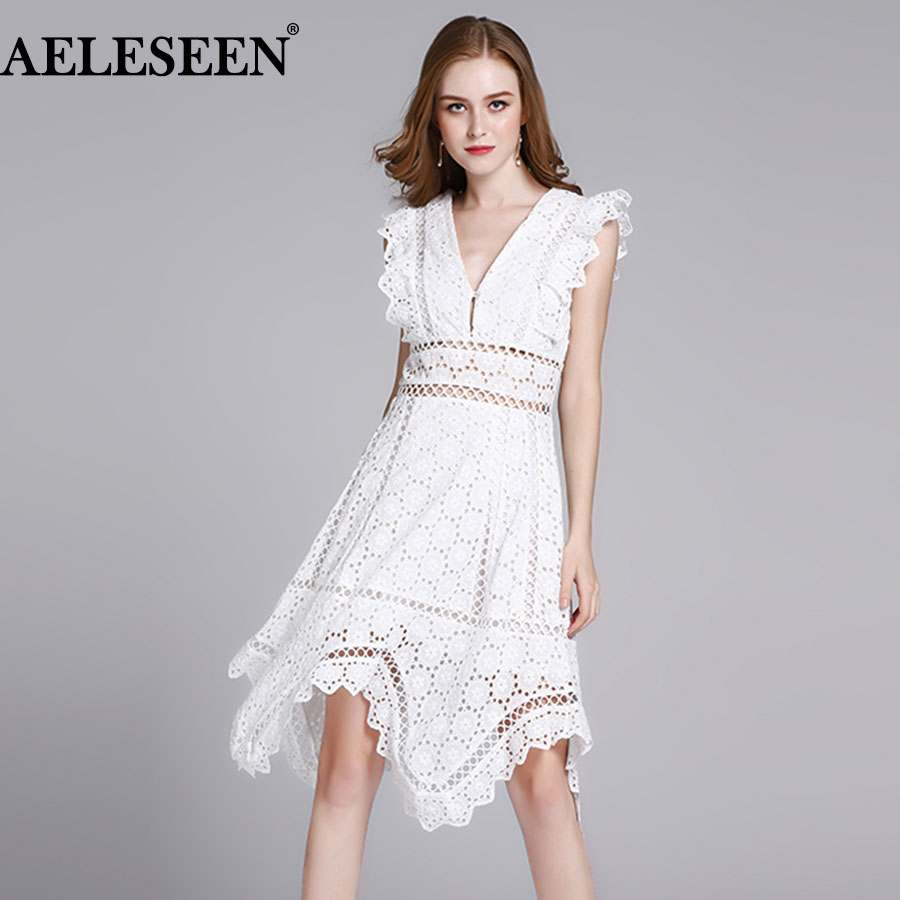 AELESEEN White Sleeveless Women Dresses 2018 Fashion V-neck Hot Sale Hollow A-Line Hem Irregular Vacation Summer Runway Dress v neck black white stripe sleeveless irregular dress