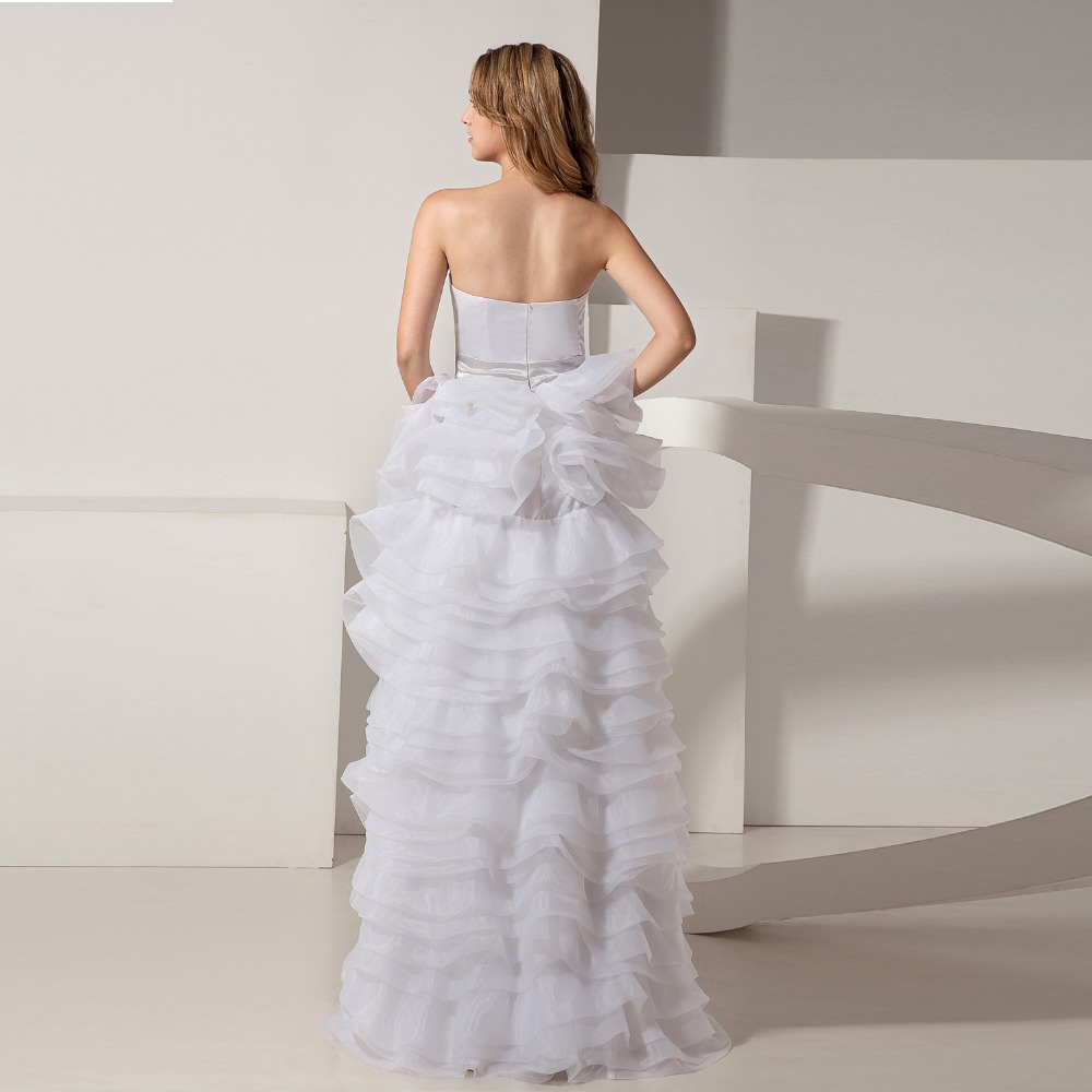 Cheap Wedding Dresses Hi Low Organza Sweetheart Bridal Dresses Cheap ...