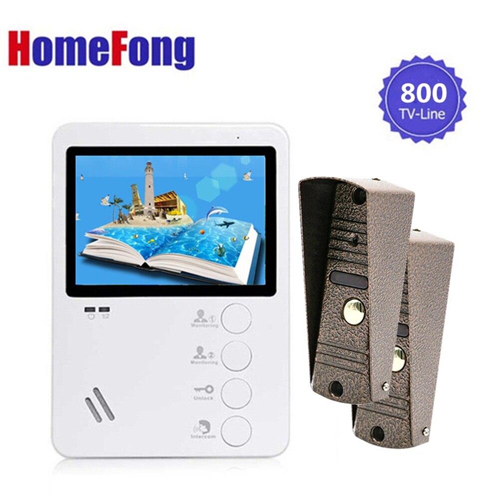 Homefong 4.3 Inch Video Door Phone Intercom System Ring Doorbell Unlock Video Intercom For Home Indoor Monitor 1v2