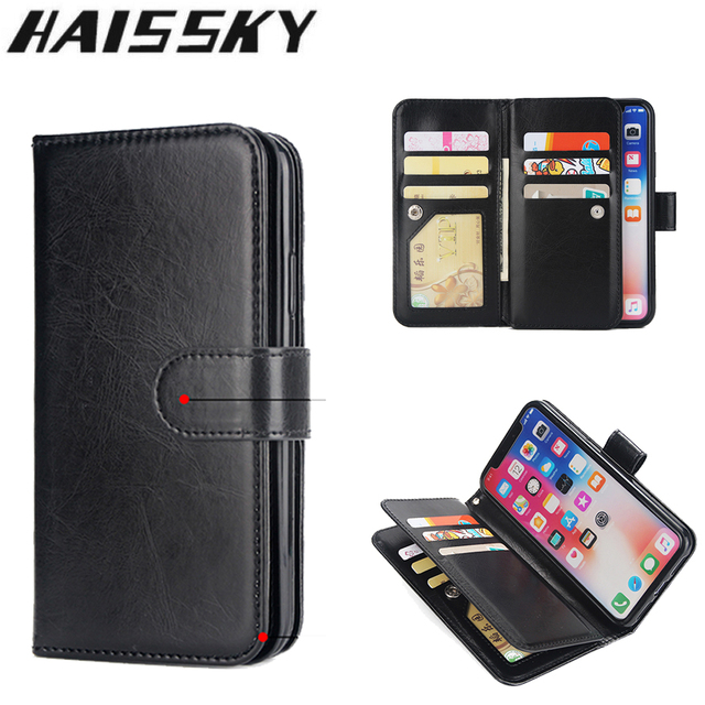 big sale 53547 b0d8f US $7.18 32% OFF|Leather Wallet Case For iPhone X Xr Xs Max Case 9 Card  Holder Cover For iPhone 8 7 Plus 6 6S Plus 5 5S SE Flip Phone Cases  Coque-in ...