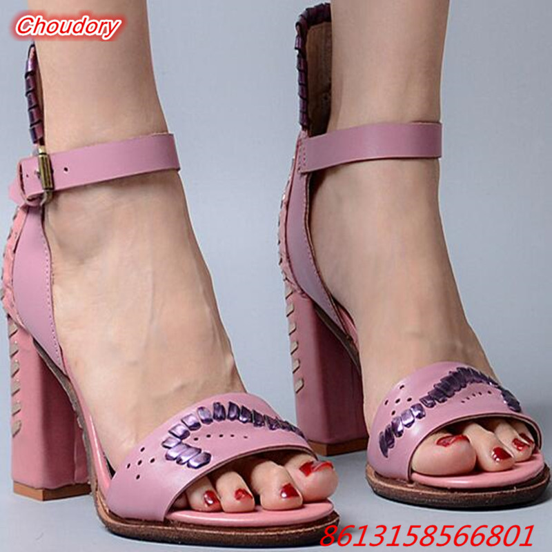 Rome Ankle Buckle Strap font b Women b font Sandals Open Toe Elegant High Heel font