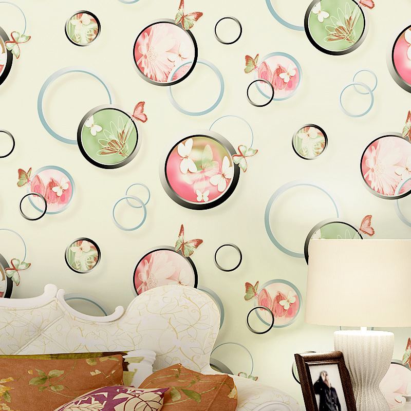 Non-woven Bubble Butterfly Wallpaper Design Modern Pastoral Flock 3D Circle Wall Paper For Living Room Background Walls 10M/Roll beibehang embossed american pastoral flowers wallpaper roll floral non woven wall paper wallpaper for walls 3 d living room