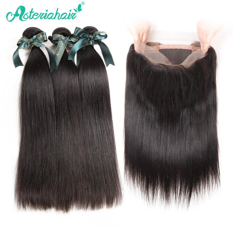 Mechones de pelo liso peruano de 3 uds. De Asteria Hair con 360 Frontal, 130% de densidad, con encaje suizo, extensiones de cabello Remy negro Natural
