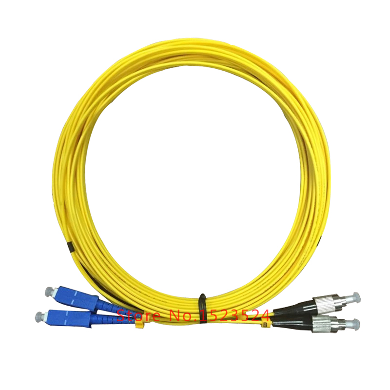 Free Shipping 5pcs/lot SM 9/125 Duplex PVC 2.0mm 10M SC-FC Fiber Optic Jumper Cable SC/UPC-FC/UPC Duplex Fiber Optic Patch Cord