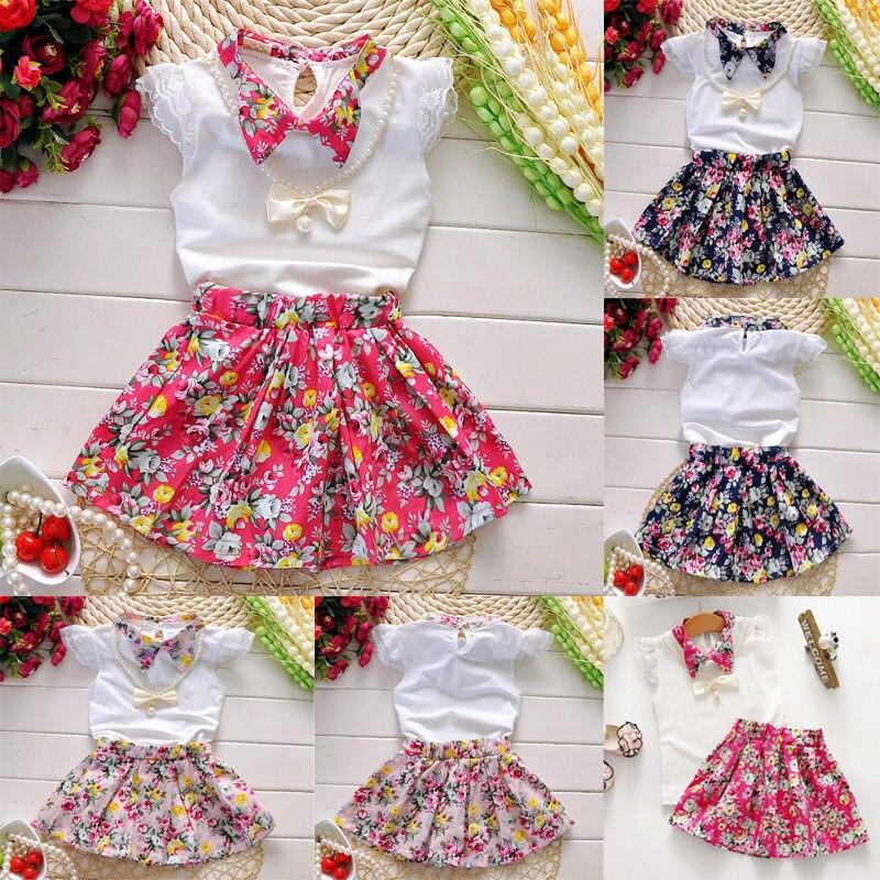 b6df51ca4 Nette Baby Kinder Mädchen Sommer Kleidung Outfits Mode Kurzarm Tops + Floral  Muster Rock Heißer Verkauf Kleidung Drei Farben ~ Best Deal June 2019