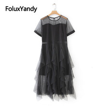 Ruffles Mesh Dress Black Vestidos Mid-Calf Irregular Transparent Casual Short Sleeve Summer KKFY3690