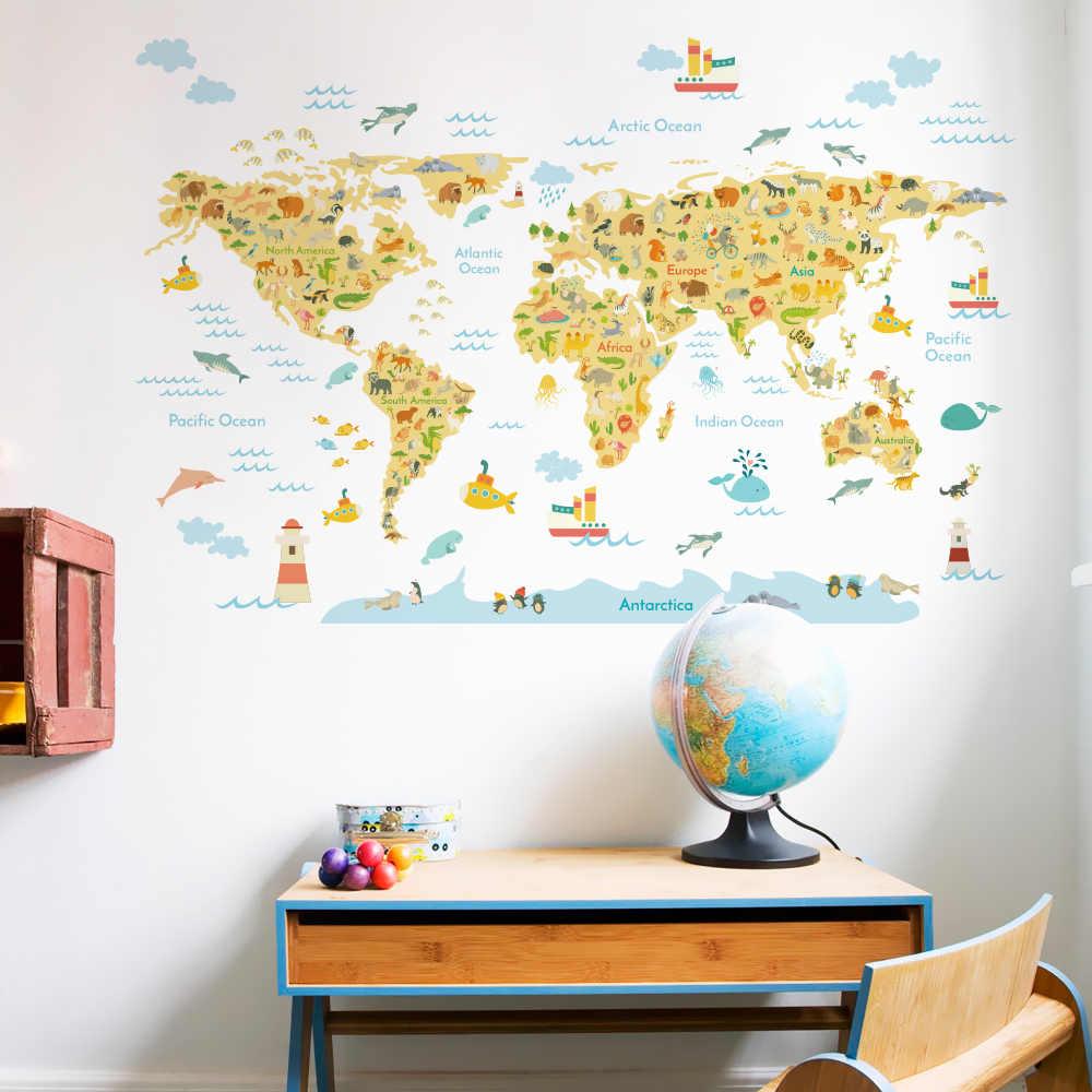 Карта мира, настенные наклейки для детской комнаты, домашний декор, настенные наклейки для комнаты, декор для спальни, Фреска для детского дома