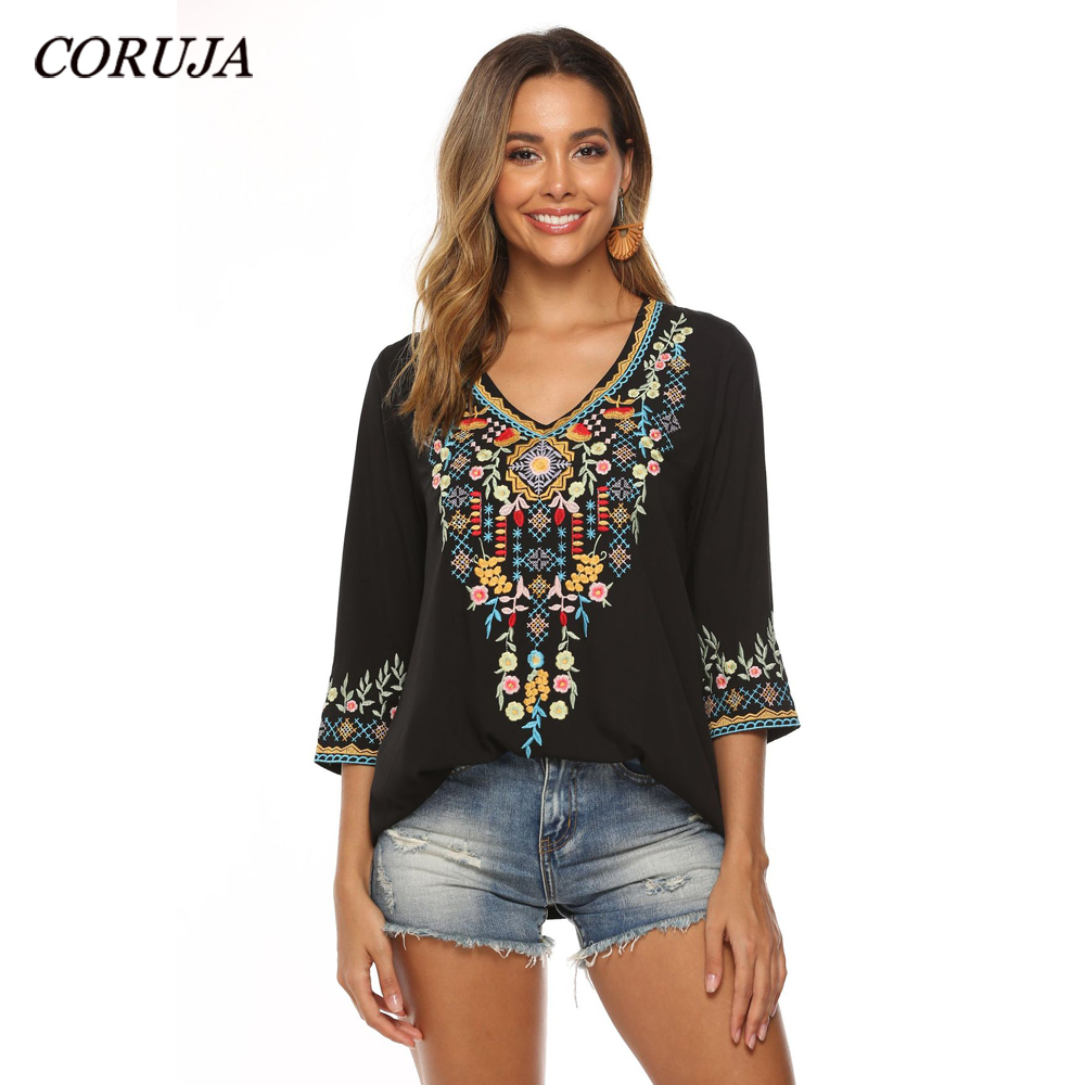 Latest Trendy Hand Embroidery Blouses High-end Boutique Floral Shirts Fashion Women's Long Sleeve V-neck Tops Blouse Embroidered