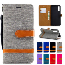 Denim holster for Samsung Galaxy A50 A10 A30 A40 A70 flip cover wallet Capa phone case