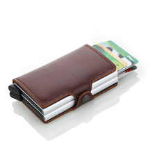 New Men Credit Card Holder High Quality Aluminum Business Genuine Leather Automatic Wallet