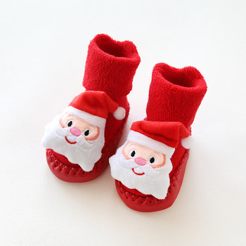 New red thick baby toddler shoes non-slip infant children cartoon doll socks Christmas terry skin socks image