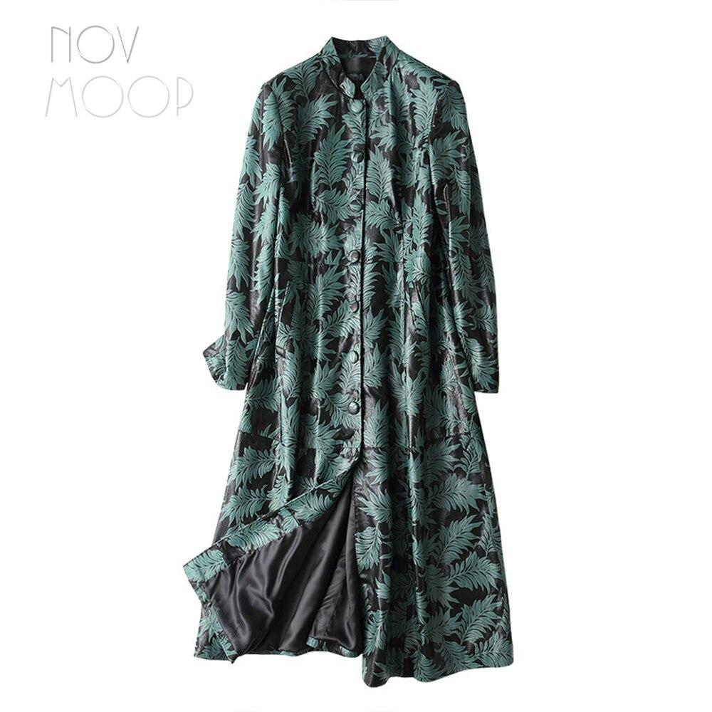 Cuir Imprimé vent Réel Vert Vintage Green Manteau Coupe Lt2489 Per Femmes Style Pic Véritable Long Noir Feuilles Agneau Black Ropa Outwear Casaco nWOwXn