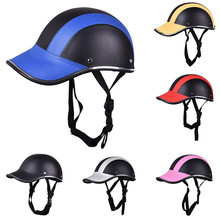 Motorcycle Half Face Helmet Half Open Face Bike Cycling Helmet Protective ABS Leather Baseball Cap Motor Unisex 5 Colors