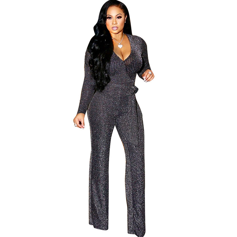 Sexy Deep V Neck Glitter Wide Leg   Jumpsuit   Women Loose Long Sleeve Elegant Romper with Sashes Ribbed Nightclub Party Overalls