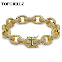 12mm Mens Charm Link Bracelet Personalized Bling Iced Out Cubic Zirconia Hip Hop Gold/Silver/Rose Gold Color Bracelets 789