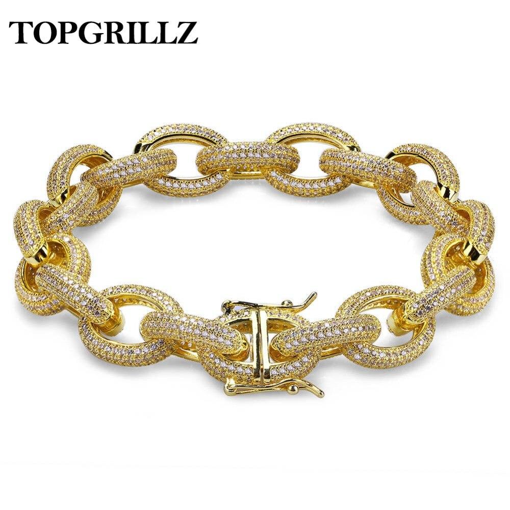 12mm Mens Charme Lien Bracelet Personnalisé Bling Iced Out Cubique Zircone Hip Hop Or/Argent/Or Rose couleur Bracelets 7