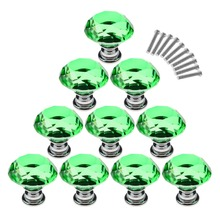 2016 New Popular hardware 10X 30mm Diamond Shape10Pcs 30mm Crystal Glass Cabinet Knobs Cupboard Drawer Pull Handles – Green