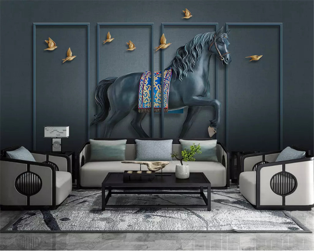 beibehang Custom size Three dimensional classic 3d wallpaper embossed horse screen new Chinese background wall papers home decor in Wallpapers from Home Improvement