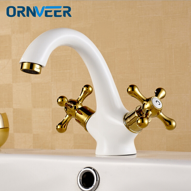 New Arrival European Antique Gold plated White Faucet Basin Sink Universal Double Handle Hot and Cold Mixer Bathroom Taps WC047