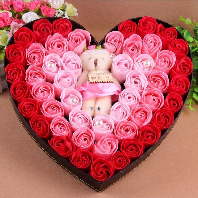 Day Birthday Gift Girlfriend Gifts Romantic Heart Box Set 50 Rose Soap Flower
