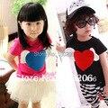 Crianças meninas verão de manga curta roupas t-shirt crianças bonito dos desenhos animados menino e menina roupas bonitas
