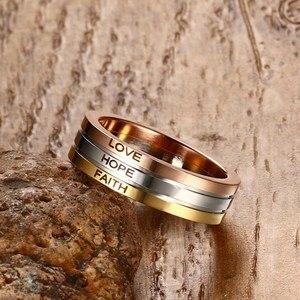 Vnox три тона микс Цветные кольца для Для женщин Любовь Надежда Вера обручальное кольцо