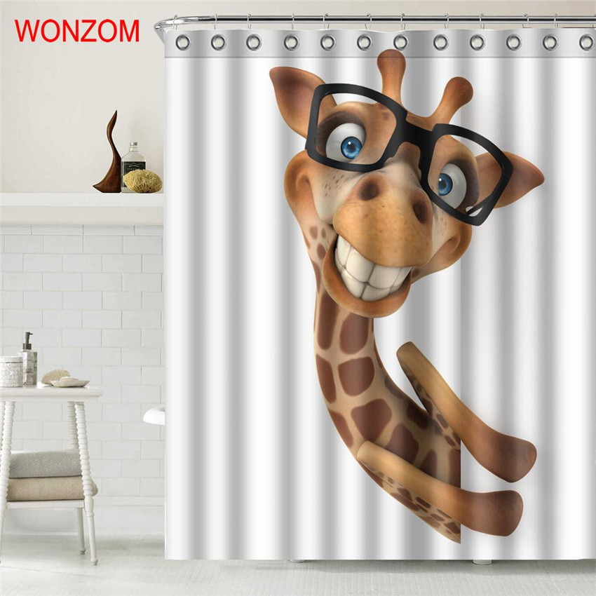 WONZOM Squirrel Polyester Fabric Giraffe Shower Curtain Bathroom Decor  Waterproof Animal Cortina De Bano With 12 Hooks Gift 2017 In Shower Curtains  From ...