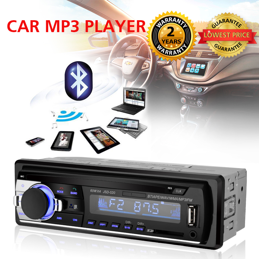 цена на Car Radio Stereo Player Digital Bluetooth Car MP3 Player 60Wx4 FM Radio Stereo Audio USB/SD with In Dash AUX Input Autoradio