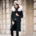 Grande Natural de Pele De Guaxinim 2016 Mulheres de Inverno Parka Casacos de Pato Para Baixo Espessamento Jaqueta Moda Casaco Solto