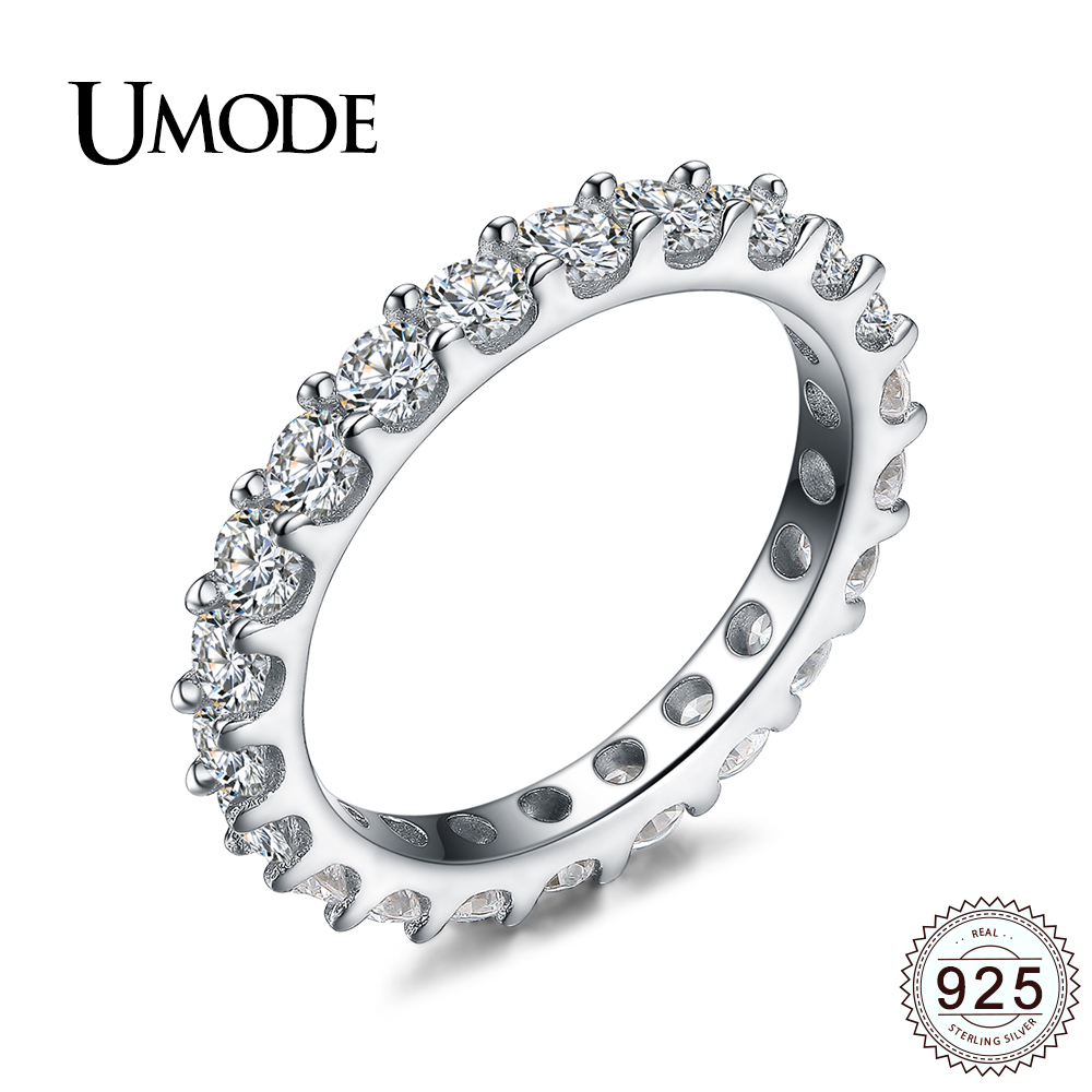 UMODE 925 Sterling Silver Wedding Engagement Rings for Women Wedding Jewelry Luxury CZ Eternity Rings Bijoux Femme Aneis ULR0342 vintage cute 925 sterling silver clover cross 7a natural moonstone rings for women wedding engagement jewelry finger bague aneis