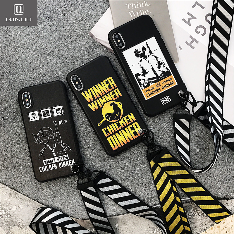 the best attitude c7a7c 56083 US $2.72 15% OFF|QINUO Cool PUBG Trend Matte Case For iPhone 6 6s 7 8 X  video Games Sling Strap Soft TPU Case For iPhone 7 Plus 8 Plus Cover  Capa-in ...