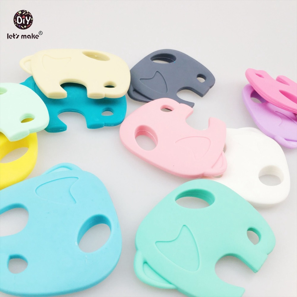 Lets make Silicone Teether Mix Color Elephant 5pcs DIY Crafts Food Grade Materials Nursing Accessories Infant Toys Baby Teether