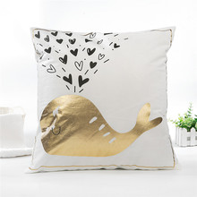 Fuwatacchi 45X45 Gold Foil Cushion Cover Letter Kiss Deer Throw Pillow Geometric Wave Pillowcases For Home Sofa Decor