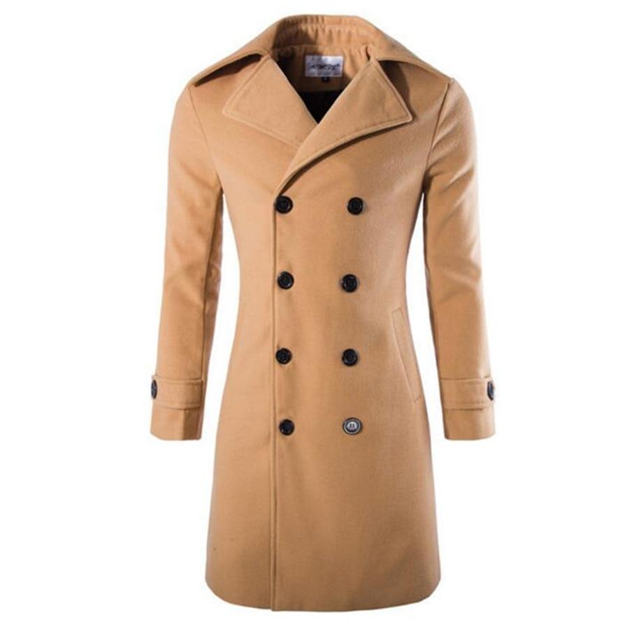 New men's coat wool long double-breasted coat
