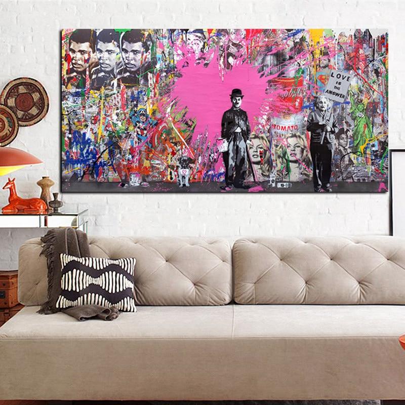 Buy banksy art graffiti prints charlie chaplin hd print for Buy modern art prints