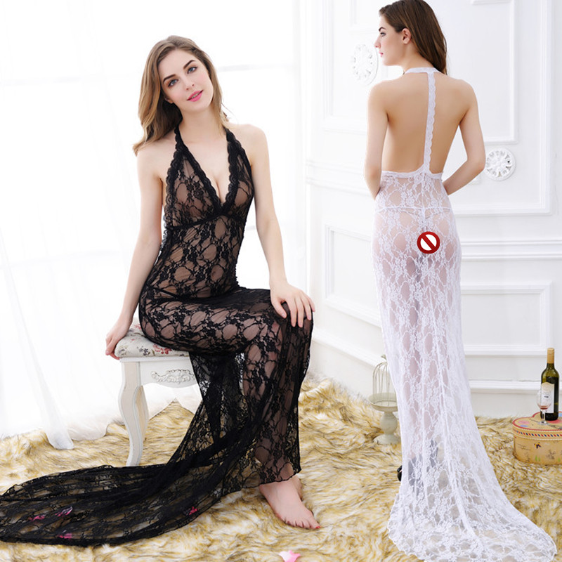 DDL435 New Arrival <font><b>sexy</b></font> lingerie Women See Through lace V-neck long <font><b>dress</b></font> <font><b>sexy</b></font> long sheer <font><b>transparent</b></font> Nightwear set image
